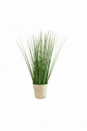Faux Tall Grass in Rattan Basket 49cm