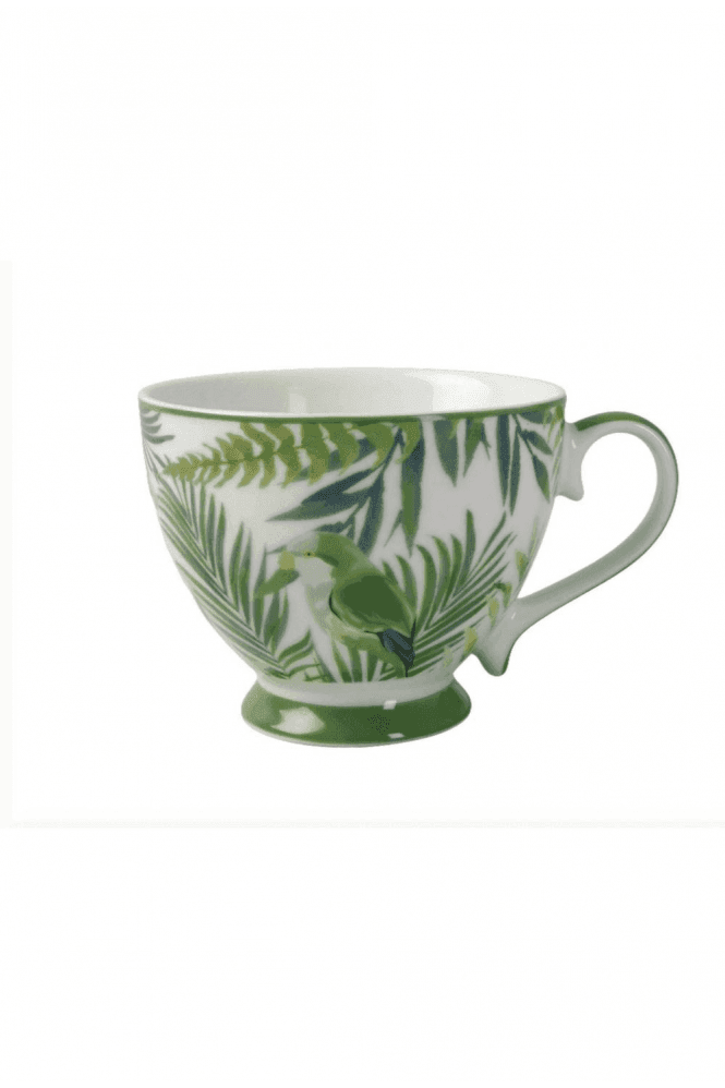 Footed Mug in Emerald Eden design