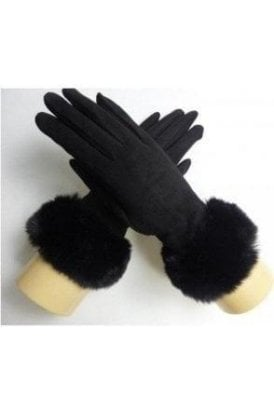 Fur Trim Faus Suede Glove 4 colours Available