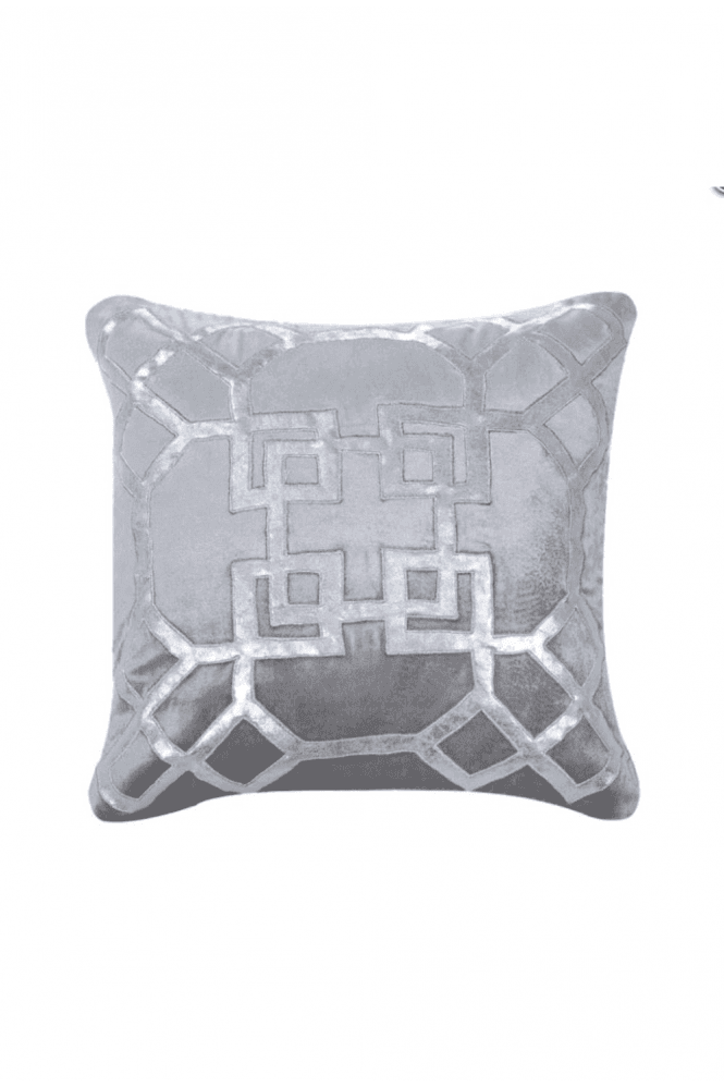 Geometric Silver and Grey Velvet Cushion