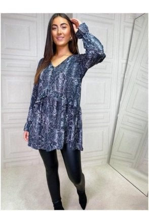 Gigi Loose Fit Tunic Grey Snake