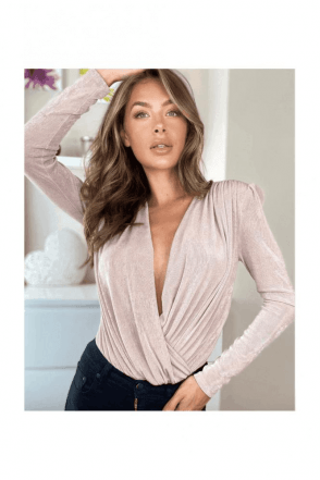 Amara Long Sleeve Wrap Bodysuit Nude