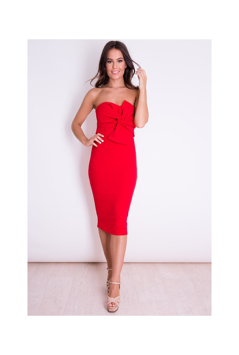 16a4281c42 Girl In Mind Knot Front Strapless Midi Dress Red - Girl In Mind from Ruby  Room UK