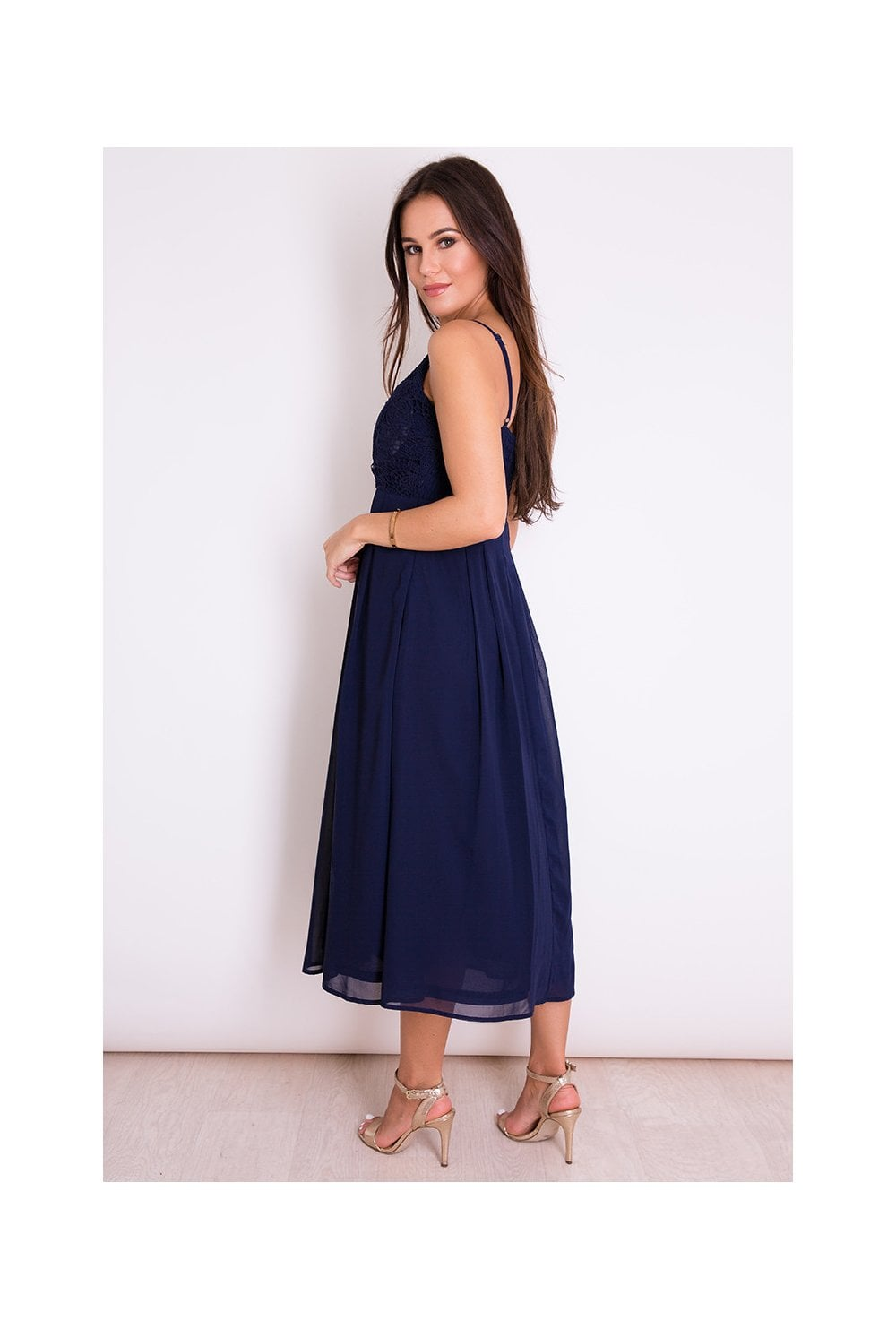 Girl In Mind Lace Top Skater Midi Dress Navy - Girl In Mind from ... f42575659