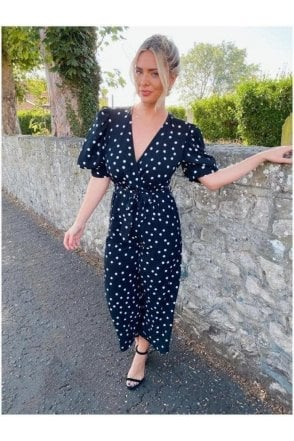 SALE   Kennedy Wrap Culotte Jumpsuit Black Spot