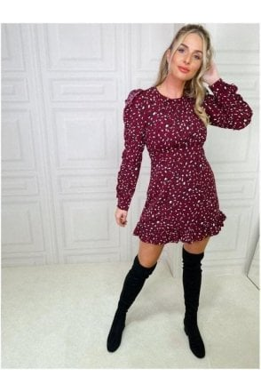 SALE Tilly Long Ruffle Sleeve Mini Dress Berry Animal