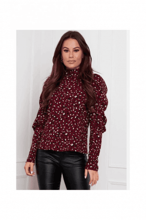 Sienna High Neck Puff Sleeve Berry Print