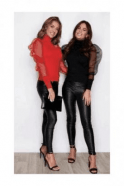 Girl In Mind SOFIA BLACK AND RED POLO NECK JUMPER WITH SHEER SLEEVES