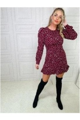 Tilly Long Ruffle Sleeve Mini Dress Berry Animal