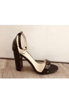Black Barely there Square Toe Block Heeled Sandals
