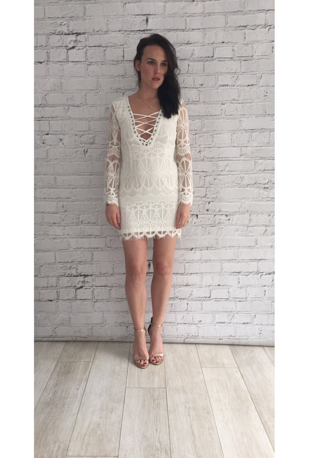 c55214d4097e Glamorous Lace Long Sleeve Shift Dress with Tie Up Detail ...