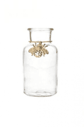 Glass Vase 16cm - Mini Bottle/Gold Bee Charm
