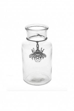 Glass Vase 16cm - Mini Bottle/Silver Bee Charm