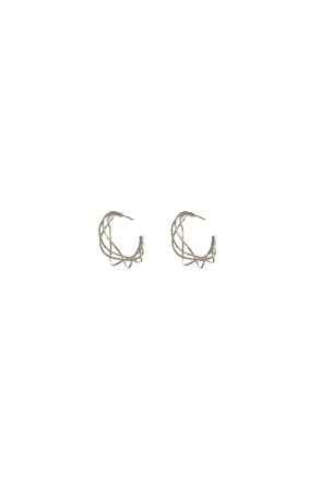 Gold Abstract Wire Design Silver Hoops