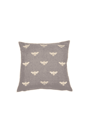 Gorgeous Golden Bees Embroidered Grey Cushion.
