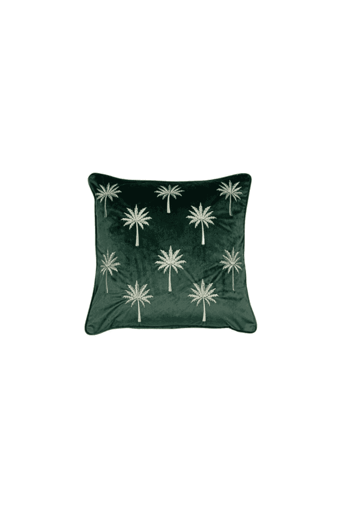 Green Velvet Cushion with Embroidered Palm Trees