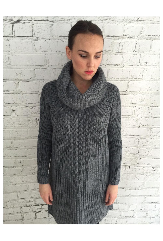 38dd3624051 Grey Chunky Roll Neck Jumper Dress