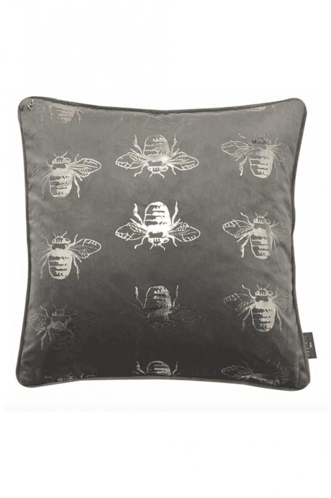 Grey Velvet Cushionwith Bee Motif