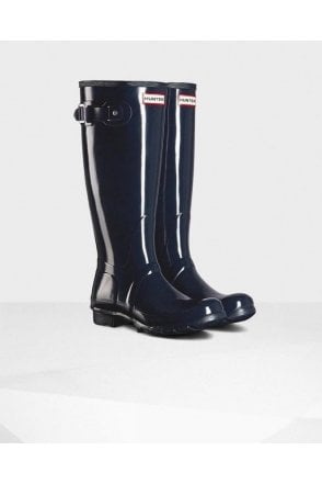 Navy Original Tall Gloss Wellington Boot