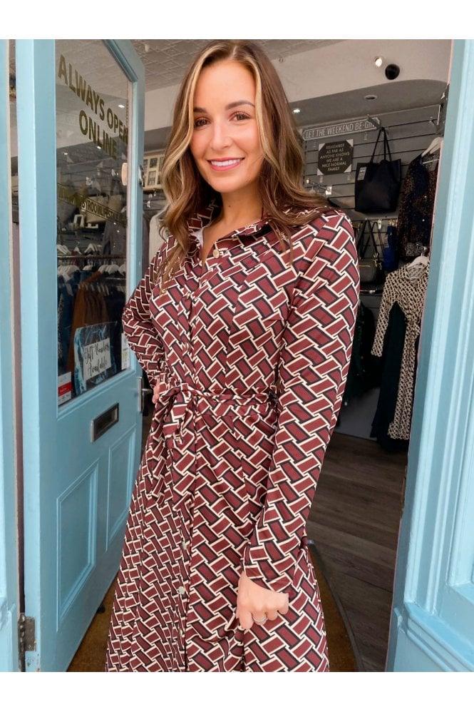 Jaime Stretch Print Maxi Shirt Dress COOPER