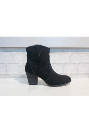 Joanie Short Suede Cowboy Style Boot Black