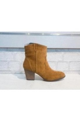 Joanie Short Suede Cowboy Style Boot Tan