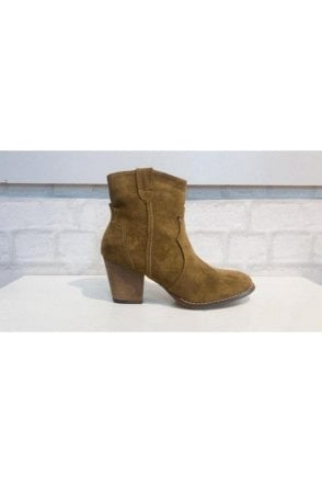 Joanie Short Suede Cowboy Style Boot Taupe
