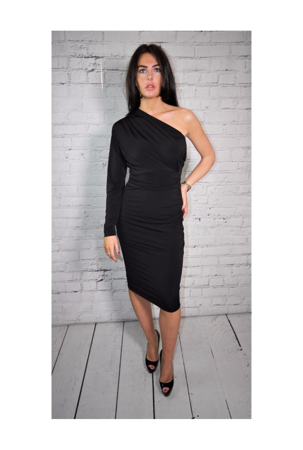 c0045d1b506e John Zack One Shoulder Dress Black - John Zack from Ruby Room UK