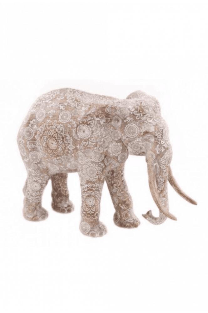 Large Woddern Patterned Elephant Ornament