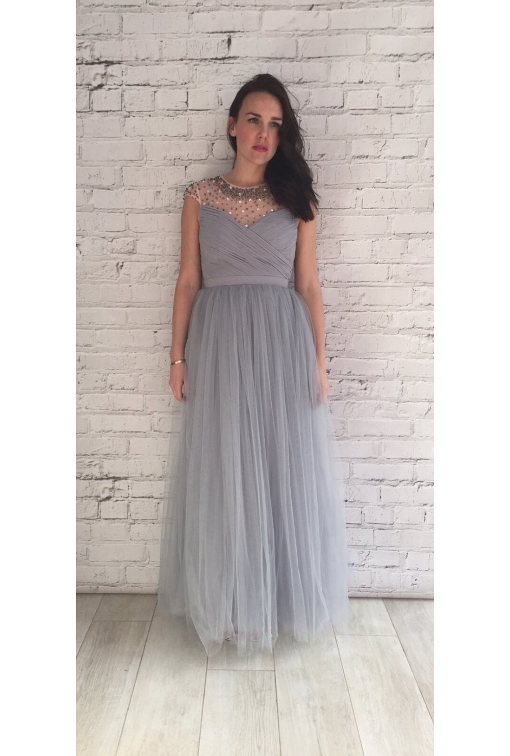 2896b87590 Little Mistress Grey Beaded Maxi Dress with Tulle Skirt - Little Mistress  from Ruby Room UK