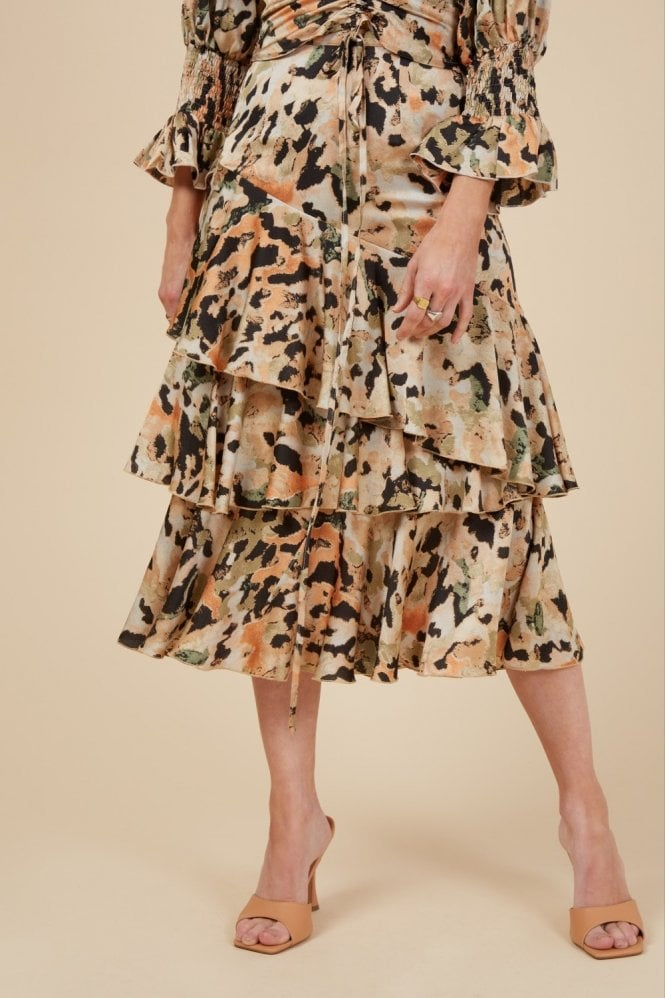 Little Mistress Pippa Printed Tiered Midi Skirt
