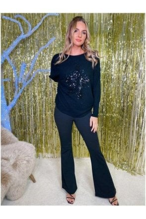 Loren Sequin Star Jumper Black