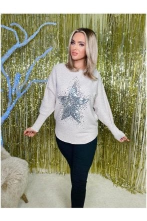 Loren Sequin Star Jumper Cream