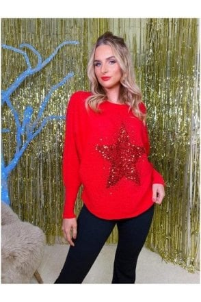 Loren Sequin Star Jumper Red