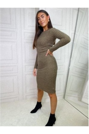 Lucy Ribbed Fitted Jumper Midi Green