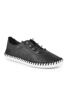 Black St Ives Leather Plimsoll