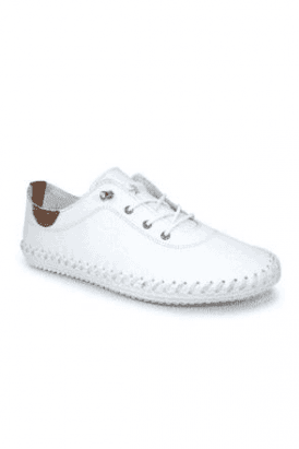 White St Ives Leather Plimsole