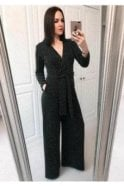 Lurex Wrap Wide Leg Jumpsuit