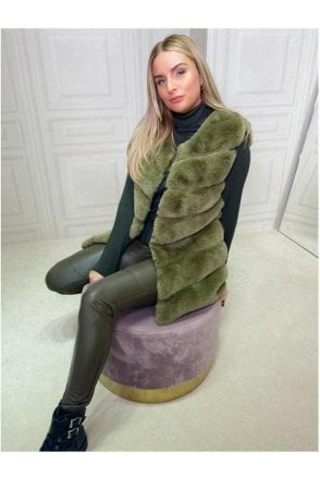 Luxurious Faux Fur Gilet Green