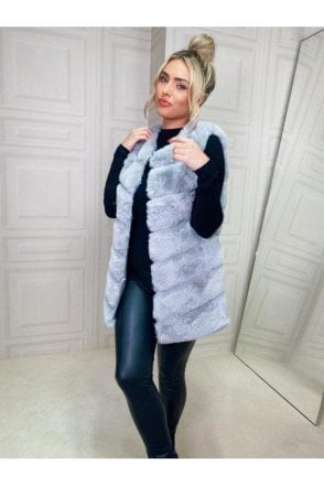 Luxurious Faux Fur Gilet Grey