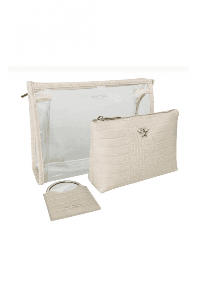 Luxury Cream - Gift set of three;- 2 makeup bags and compact mirror