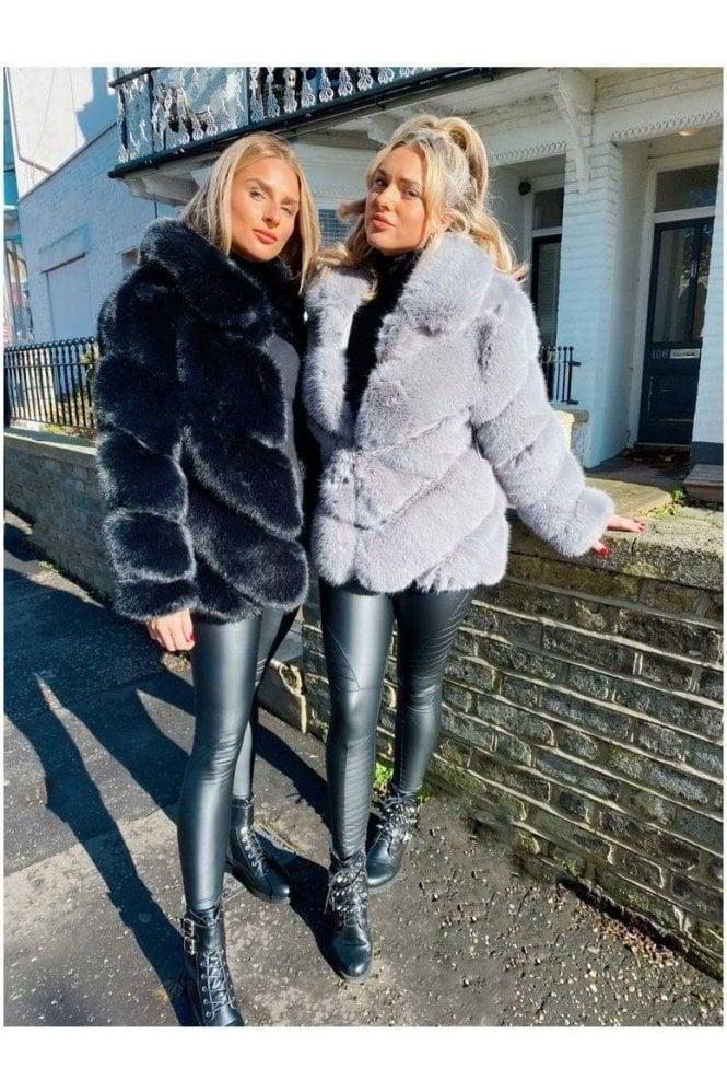 Luxury Faux fur panel coat black