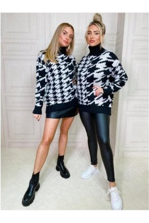 Lystra Black and White Check Jumper