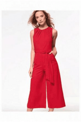 Macy Culotte Jumpsuit in Red