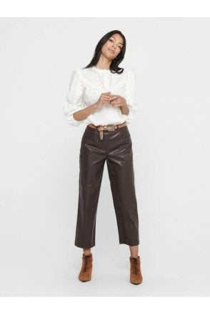 Monica Leather Look Trousers Brown