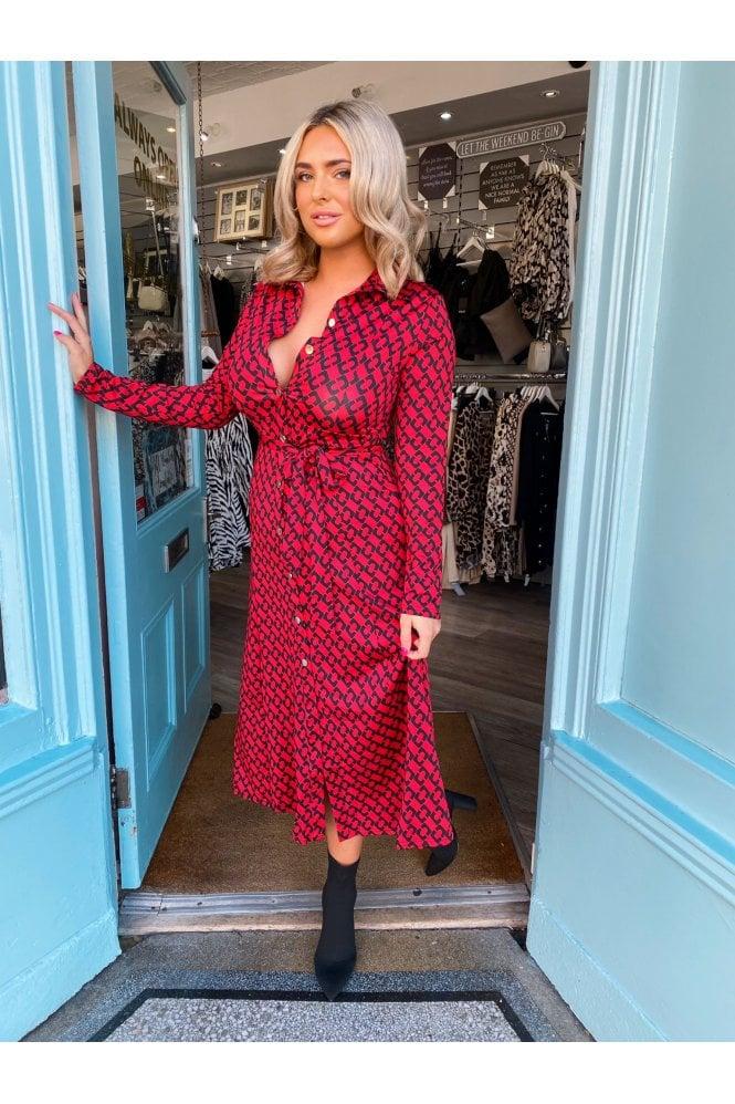 ONLINE EXCLUSIVE Jaime Stretch Print Maxi Shirt Dress RED