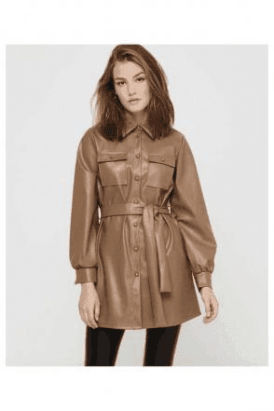 RUMA FAUX LEATHER SHIRT DRESS