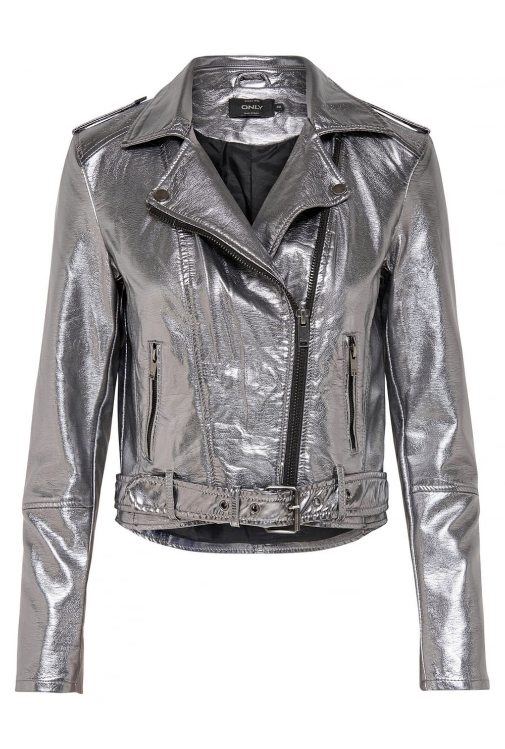 clearance sale online here authorized site Only Soft Faux Leather Silver Biker Jacket - Only from Ruby Room UK
