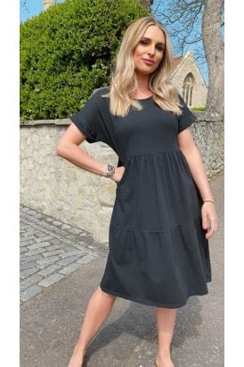Paris Jersey Tiered Dress Black