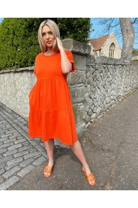Paris Jersey Tiered Dress Orange